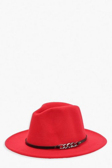 Red Chunky Chain Detail Fedora Hat