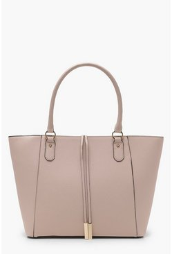 Structured Cross Hatch Tote Bag, Blush, MUJER