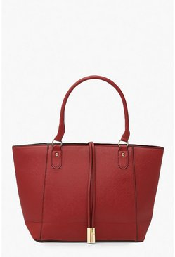 Structured Cross Hatch Tote Bag, Burgundy