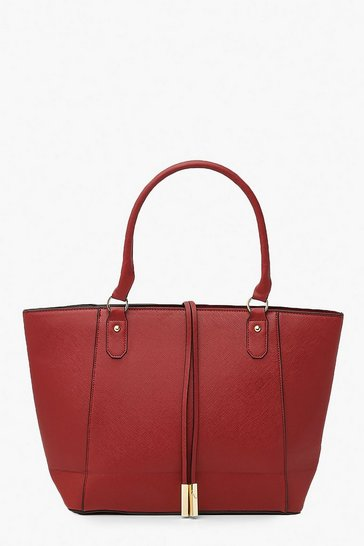 Burgundy Structured Cross Hatch Tote Bag