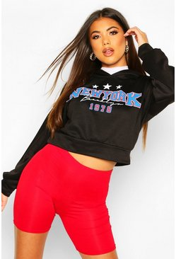 New York Slogan Crop Hoody, Black, FEMMES