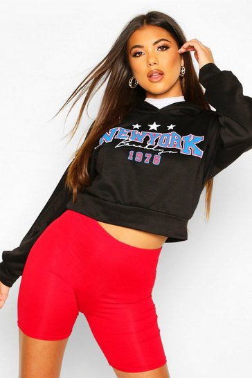 Womens Black New York Slogan Crop Hoody