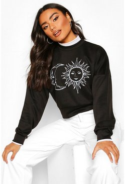 Womens Black Sun & Moon Print Crop Sweat