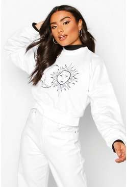 Womens White Sun & Moon Print Crop Sweat