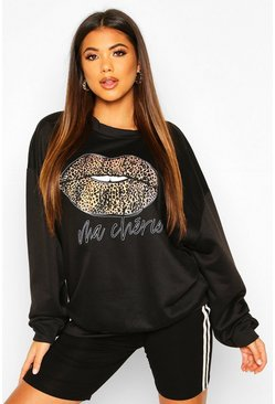 Womens Black Leopard Lips Oversized Sweat