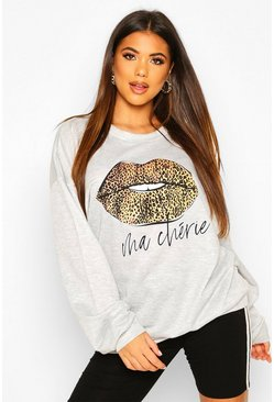 Grey marl Leopard Lips Oversized Sweat