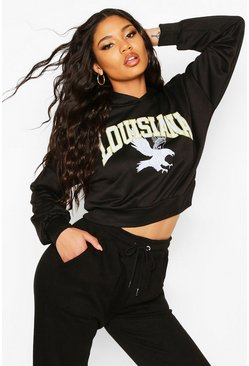 Womens Black Louisiana Slogan Crop Hoody