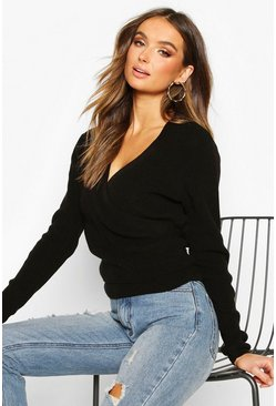 Cropped Knitted Tie Front Cardigan, Black