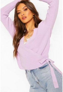 Lilac Cropped Knitted Tie Front Cardigan