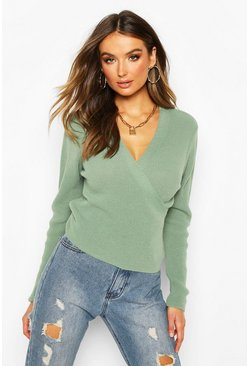 Sage Cropped Knitted Tie Front Cardigan