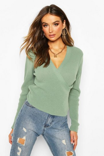 Womens Sage Cropped Knitted Tie Front Cardigan