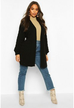 Cable Knit Balloon Sleeve Midaxi Cardi, Black, ЖЕНСКОЕ