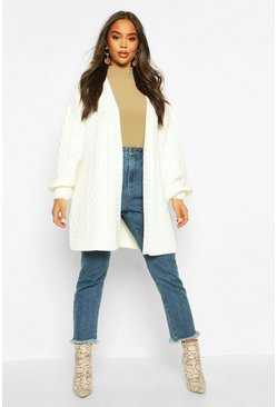 Cream Cable Knit Balloon Sleeve Midaxi Cardi