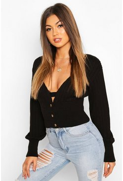Black Rib Knit Crop Balloon Sleeve Cardigan