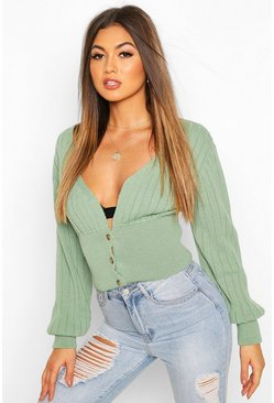Rib Knit Crop Balloon Sleeve Cardigan, Sage