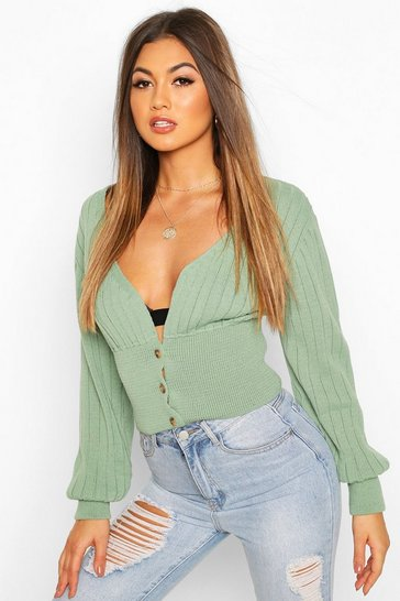 Womens Sage Rib Knit Crop Balloon Sleeve Cardigan