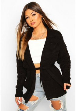 Cable Knit Tie Waist Cardigan, Black, ЖЕНСКОЕ