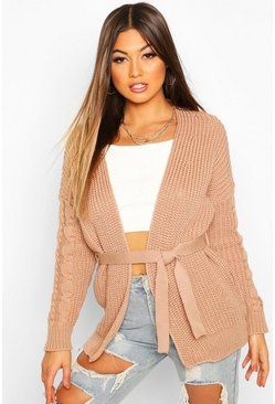 Womens Camel Cable Knit Tie Waist Cardigan