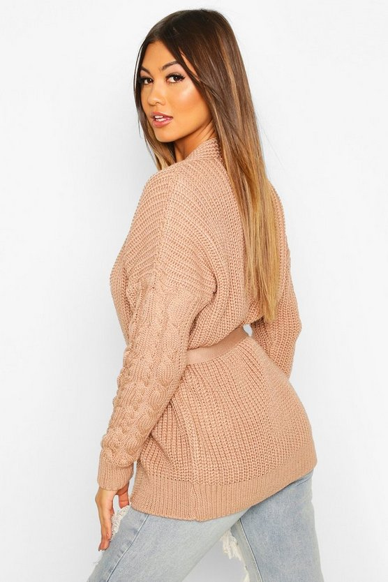 Cable Knit Tie Waist Cardigan