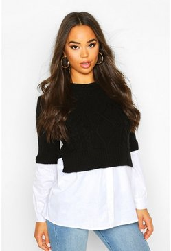 Black Cable Knit 2 In 1 Top
