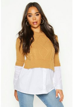 Stone Cable Knit 2 In 1 Top