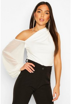 Scuba One Shoulder Mesh Sleeve Top, White