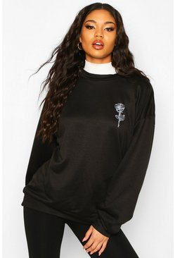 Rose Pocket Print Oversized Sweat, Black