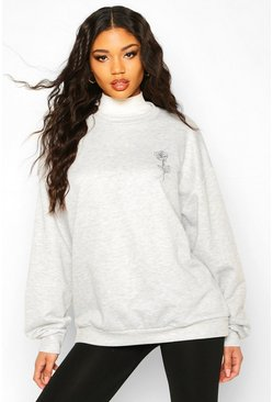 Rose Pocket Print Oversized Sweat, Grey marl