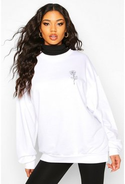 Rose Pocket Print Oversized Sweat, White