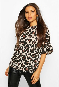 Womens Tan Leopard Ruffle Sleeve Smock Top