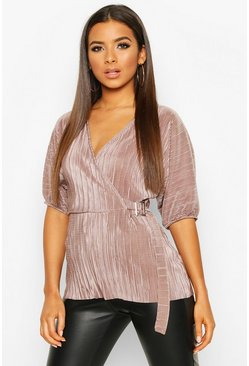 Pleated Wrap Front Tie Waist Top, Mocha, DAMEN
