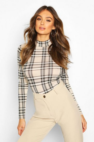 Stone Check High Neck Long Sleeve Top