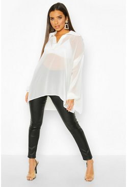 Womens White Woven Balloon Sleeve Collar Detail Blouse
