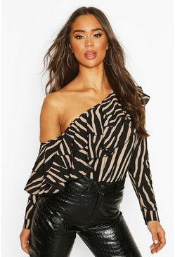 Womens Black Zebra Ruffle One Shoulder Woven Top