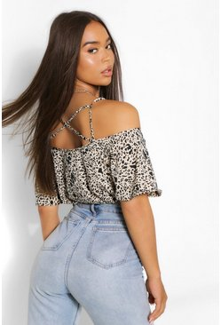 Leopard Woven Cross Front Cold Shoulder Cami, Nude, FEMMES