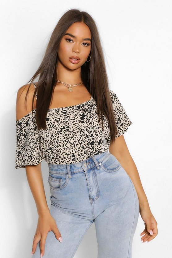 Leopard Woven Cross Front Cold Shoulder Cami