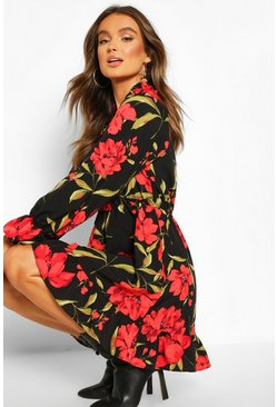 Red Floral Oversized Smock Dress, Black