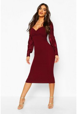Plisse Pleated Sleeve Wrap Detail Midi Dress, Berry