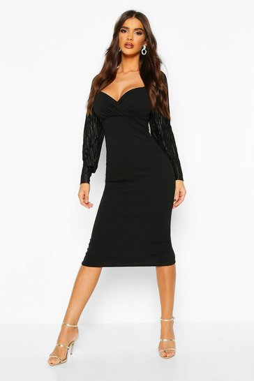 Black Plisse Pleated Sleeve Wrap Detail Midi Dress