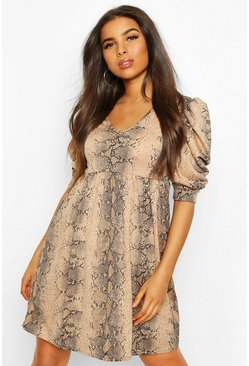 Snake Puff Sleeve Skater Dress, Stone, FEMMES
