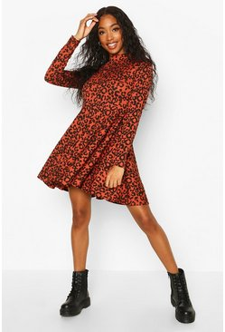 Leopard Rib High Neck Skater, Rust