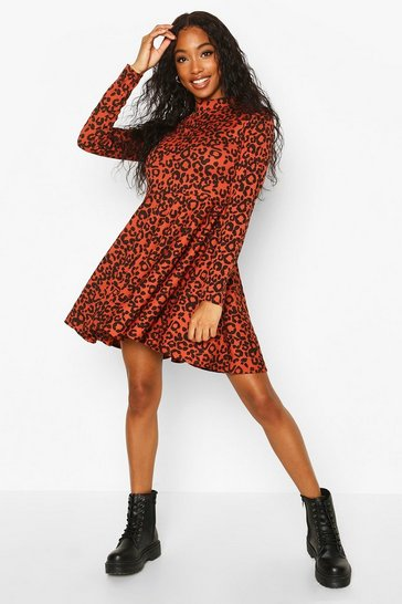Rust Leopard Rib High Neck Skater