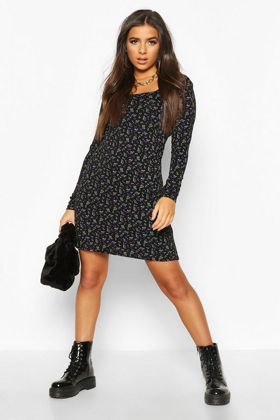Womens Black Ditsy Floral Square Neck Shift Dress