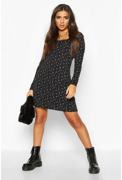 Ditsy Floral Square Neck Shift Dress, Black, FEMMES