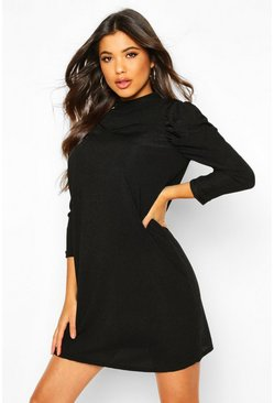 Womens Black Rib High Neck Puff Sleeve Shift Dress