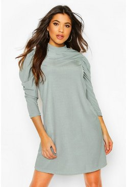 Duck egg blue Rib High Neck Puff Sleeve Shift Dress