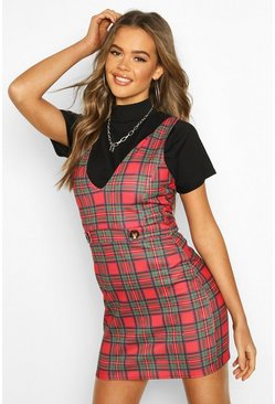 Womens Red Check Button Detail Pinny Dress