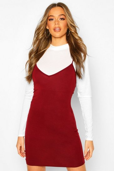 Womens Berry Layered Funnel Neck Long Sleeve Mini Slip Dress