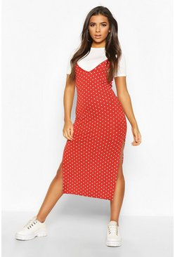 Polka Dot Layered T-shirt Slip Dress, Rust, MUJER