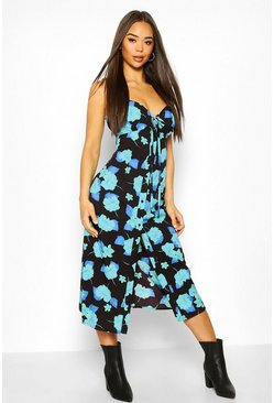 Woven Floral Tie Front Skater Dress, Black